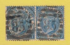 Pair of GB QV 2s. Deep Blue SG119 Plate 1 OI/OJ Used Two Shillings Stamps - Rare