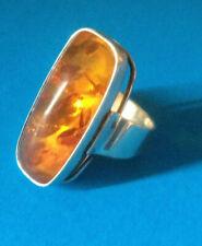 Bague Argent & Ambre / Modernist German Fischland Ring Silver & Amber 70's