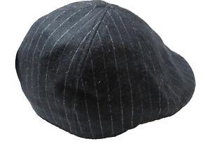 Dockers Men Wool Blend White Striped Black Ivy Newsboy Hat L/XL