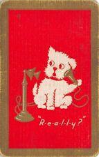 Dog Talking on Old Phone Single Swap Playing Card Vintage