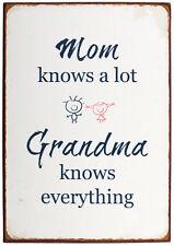 """Ib Laursen Metallschild """"Mom knows a lot Grandma knows everything"""" Dekoschild"""