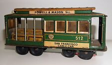 VINTAGE SAN FRANCISCO CABLE CAR TINPLATE TOY MADE IN JAPAN RARE ORIGINAL 1950's