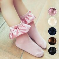 Baby Kids Girls Princess Lace Bow Ruffle Socks Toddler Infant Cotton Ankle Socks