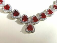 white gold finish clover heart red ruby created diamond necklace free post