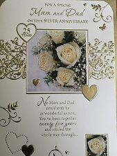 Mum & Dad Silver Anniversary Card