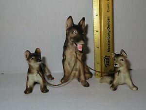Vintage German Shepard Porcelain Chained Mom Puppies Figurine