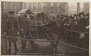 Soldier guarding German Field Gun on view Nottingham Captured by 15th Division