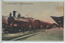 CARTOLINA 1909 UN SALUTO DA CHIASSO STAZIONE CON TRENO LAMPO 151/A