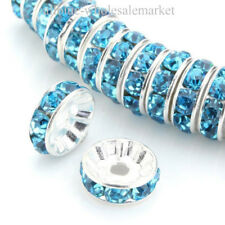 100Pcs Rondelle Spacer Silver Beads Czech Crystal Rhinestone Round 4 6 8 10mm
