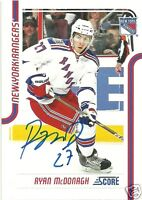 Ryan McDonagh Signed Auto 2011 Score New York Rangers Card - COA - NHL