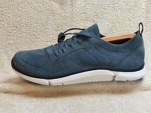 Clarks Trigenic mens Comfort trainers Suede Blue/White UK 10 G EUR 44.5 US 11