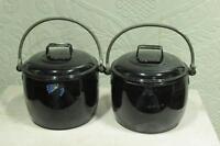2 Pc Black Cooking Pot Vintage Enamel Ware Kitchenware Home Decor BD-71