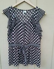Womens LC Lauren Conrad ruffled sleeve polkadot top blouse detached cami
