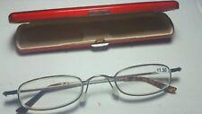 Classic Mini +1.50 Presbyopia Reading Glasses w/Slim Pocket Pen Clip Hard Case