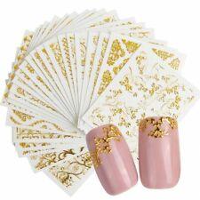 Adhesive Tip Nail Transfer Sticker Set Hollow Foil Golden Flower Manicure Art