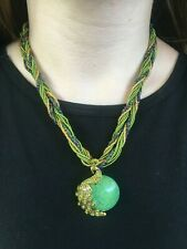 Green Moon & Rhinestone Peacock Pendant Seed Bead Statement Necklace