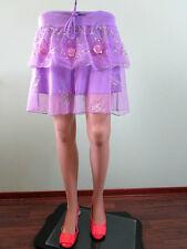 Womens Purple Lace Embellish Sequin Summer Ruff Flare Tiere Calf Skirt sz 16 K70
