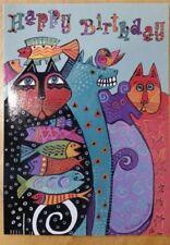 New Laurel Burch Birthday from Group Cat Dog Fish Crowd Card InterArt Card & Env