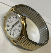 Mens Citizen By Seiko Railroad Approved Day/Date Watch Stretch Band New Battery
