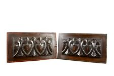 Pair of Architectural 19th.C Carved Walnut Wood Wall Panels