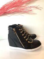Shoe dazzle Sneaker Wedge Black  Women Sz 8 High Tops