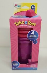 4-Pack 10 Ounce Take & Toss Spill-Proof Food Grade BPA Free Kids Sippy Cups-9m+