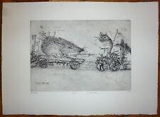Mordecai Moreh gravure originale signée expressionnisme fantastique Israël