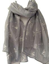 Grey Scarf Silver Dragonfly Print Ladies Large Wrap Shawl New