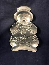 Snowman Cast Aluminum Pewter Candy Dish Trinket Tray Christmas Holiday Decor