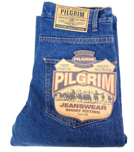 Pilgrim Mens Short Fitting Straight Leg Blue Denim Jeans BNWT Workwear Size 30