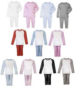 100% Cotton BABY BOY/GIRL TODDLER Plain Coloured Pyjama Set Long Sleeve Footless