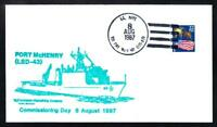 Dock Landing Ship USS FORT McHENRY LSD-43 COMMISSIONING Naval Cover (A3809)