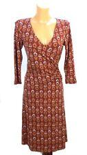 QIERO Jersey Kleid Wickelkleid Print Ethno Braun Gr. 36 (BF324)