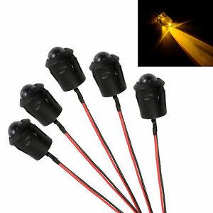 5x Yellow Pre Wired 10mm LED + Bezel Holder Light Lamp 12V
