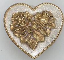 VINTAGE Crumrine Belt Buckle Heart Floral Flower Design Western Cowboy Cowgirl