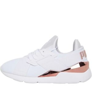 Puma Womens Muse Metal Puma White/Rose Gold With Box Size 4.0 Rrp £74.99