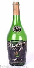CAMUS CELEBRATION COGNAC FRANCE WHISKY VINTAGE GREEN GLASS EMPTY BOTTLE. i31-60