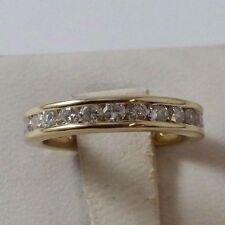 Elegant 14k Karat Solid Yellow Gold Eternity Wedding Band With Diamonds - Nice!