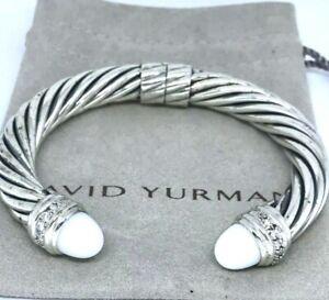 AUTHENTIC CHIC DAVID YURMAN CABOCHON WHITE AGATE DIAMONDS 10 MM THICK BANGLE