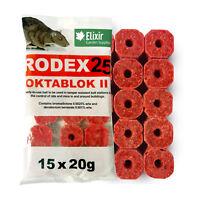 60 x 20G BLOCKS RODEX25 OKTABLOK II RAT/MOUSE BAIT POISON KILLER