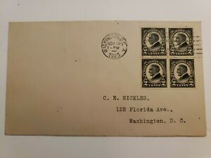 US FDC 1923  #611 2c Harding Imperf Block !