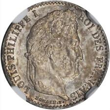FRANCE LOUIS PHILIPPE I  1838-A 1/4 FRANC COIN, UNCIRCULATED CERTIFIED NGC MS64