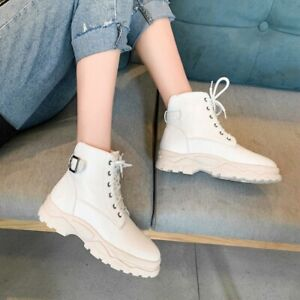 Womens Low Heel Lace Up High Top Boots Casual Hiking Work Comfort Lady Shoe Plus
