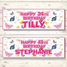 2 Farfalla Personalizzato Compleanno Striscioni-qualsiasi nome-Qualsiasi Età