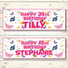 2 PERSONALISED BUTTERFLY BIRTHDAY BANNERS - ANY NAME - ANY AGE