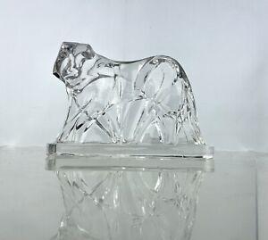 Vintage Baccarat Crystal Tiger Sculpture George Chevalier Deco Art Glass Figure
