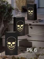 6 BONEYARD SKULL LUMINARY BAGS Halloween Candle Tea Light Bags Decorations 70331