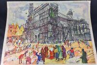 Ancienne grande affiche scolaire recto-verso Rossignol collection cathédrale