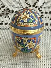 Halcyon Days Egg Shaped Enamel Box Easter 2004 with Stand