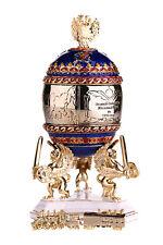 Faberge Egg / Trinket Jewel Box Trans-Siberian Express 4.9' (12.5cm) blue